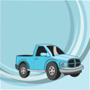 Royalty Free Clipart Image of a Blue Truck