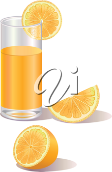 Royalty Free Clipart Image of a Glass of Orange Juice