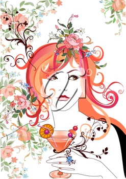 Royalty Free Clipart Image of a Woman Holding a Cocktail