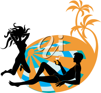 Royalty Free Clipart Image of a Man and Woman on the Beach