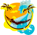Royalty Free Clipart Image of a Woman Relaxing in a Hammock on the Beach