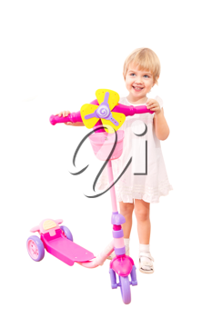 Royalty Free Photo of a Little Girl With a Scooter