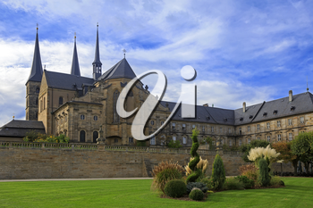 Kloster Michelsberg (Michaelsberg) cathedral and garden in Bamburg, Germany with blue sky