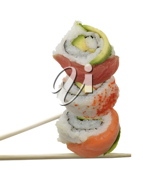 Sushi Rolls With Red Fish And Avocado, Isolated On White Background
