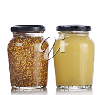 Mustard Sauce and Whole Grain Mustard Isolated on White Background