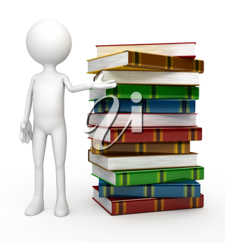 3d person with  books. Computer generated image