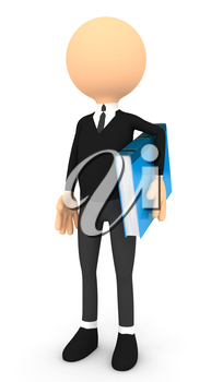 3d man and blue book. computer generated image