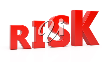 risk text 3d isolated over white background