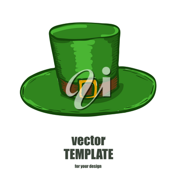 Patrick hat isolated on white background. Vector illustration of green hat.