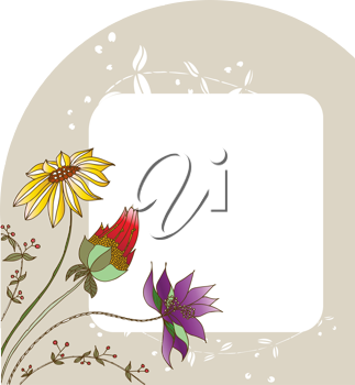 Royalty Free Clipart Image of a Brown Frame With Flowers in the Corner
