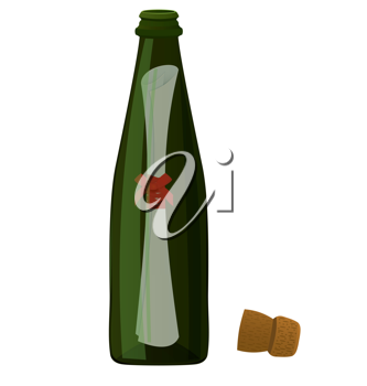Royalty Free Clipart Image of a Message in a Bottle