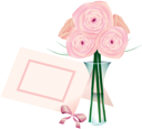 Royalty Free Clipart Image of Roses in a Vase and a Place Card