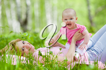 Royalty Free Photo of a Mother and Daughter in a Park
