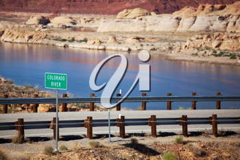 Royalty Free Photo of a Road Beside the Colorado River