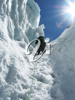 Royalty Free Photo of a Climber on a Glacier