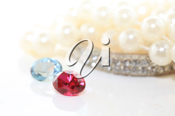 Royalty Free Photo of Gemstones and Pearls