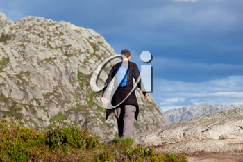 Royalty Free Photo of a Hike in the Mountains in Norway