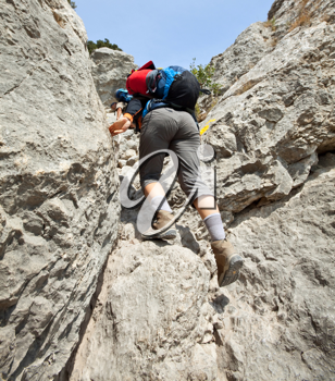 Royalty Free Photo of Rock Climbers in the Crimean Mountains