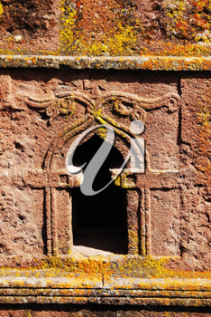 Royalty Free Photo of a Window in the Church of St. George in Lalibela, Ethiopia