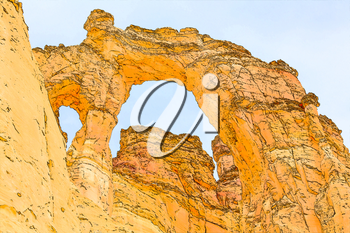 Grosvenor arch filtered in retro style travel poster or sticker