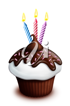 Royalty Free Clipart Image of a Cupcake With Three Candles