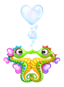 Royalty Free Clipart Image of Two Seahorses in Love