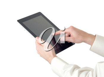 Royalty Free Photo of a Businessman Using a Tablet