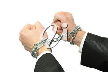 Hands in chains on a white background