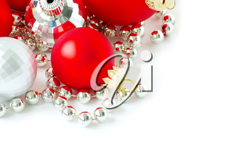 christmas balls isolated on the white background