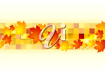Red orange maple leaves on geometric squares background. Vector autumn design