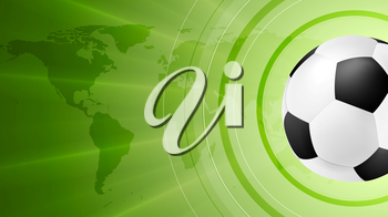 Green anstract soccer sport background with ball. Vector design