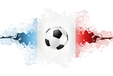 European Football Championship in France, grunge splash background. Vector Euro sport design, France flag colors