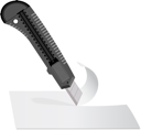 Royalty Free Clipart Image of a Knife Cutting Paper