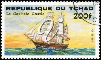 REPUBLIC OF CHAD - CIRCA 1984: A stamp printed in Republic of Chad shows the ship Le Carlisle Castle, series is devoted to sailing vessels, circa 1984