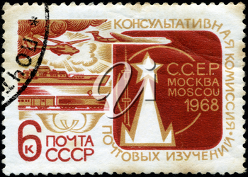 USSR - CIRCA 1968: A Stamp printed in USSR shows the Mail Transport, Advisory Committee for Postal Studies, circa 1968