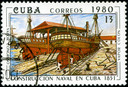 CUBA - CIRCA 1980: A stamp printed by the Cuban Post shows construction of two Cuban steamships
