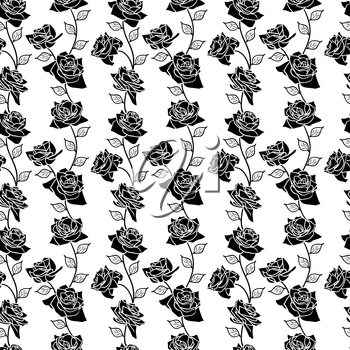 Beautiful  seamless wallpaper with rose flowers, vector illustration