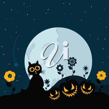 Cat at night against the moon. A vector illustration