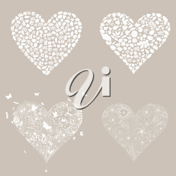 Set of white hearts. A vector illustration