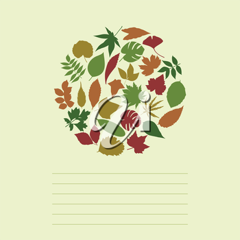 Autumn leafs in the form of a circle. A vector illustration