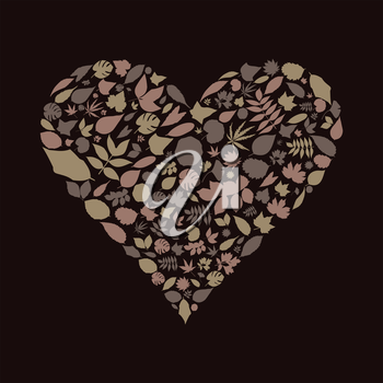 Heart made from leaf. A vector illustration