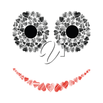 Eyes and a mouth made of hearts. A vector illustration
