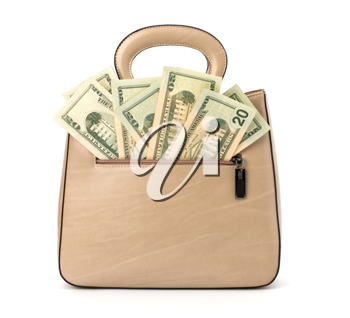 Glamour handbag full with money isolated on white background