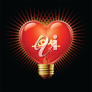 Royalty Free Clipart Image of a Heart Shaped Light bulb