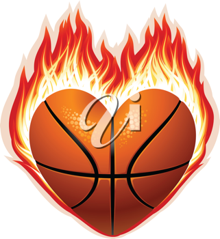 Royalty Free Clipart Image of a Basketball on Fire
