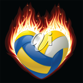 Royalty Free Clipart Image of a Volleyball on Fire