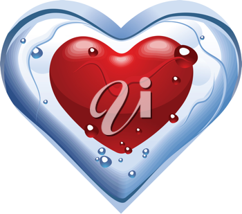 Royalty Free Clipart Image of a Thawing Ice Heart