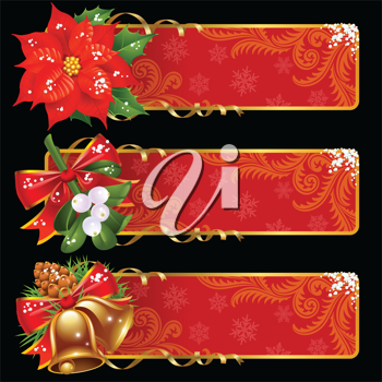 Royalty Free Clipart Image of a Christmas Banners