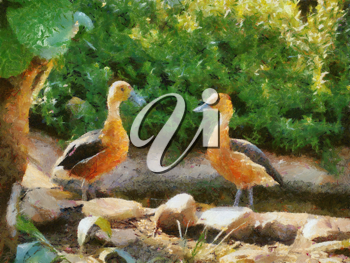 Royalty Free Photo of a Painting of Two Fulvous Whistling Ducks