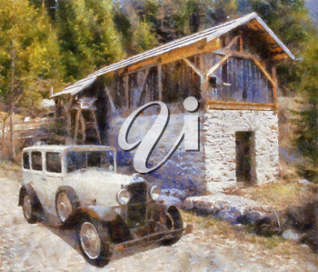 Royalty Free Photo of a Painting of a Vauxhall Cadette